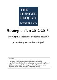 Strategic plan 2012-2015 - The Hunger Project