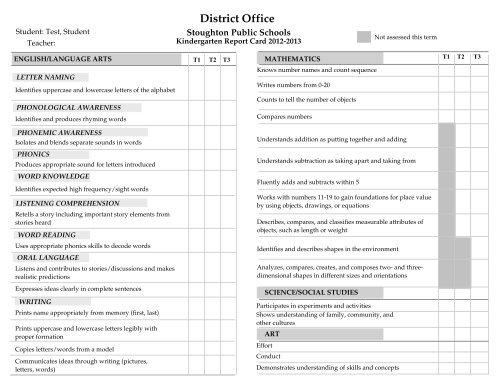 kindergarten standards based report card stoughton public  - Kindergarten Report Card