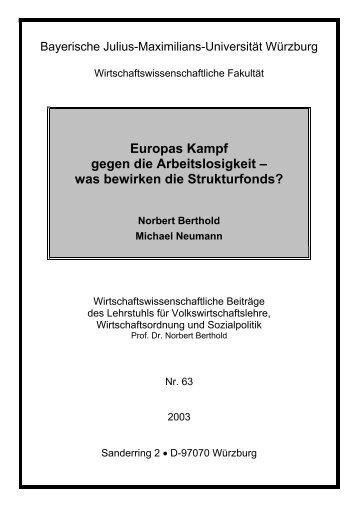 Europas Kampf gegen die Arbeitslosigkeit - Universität Würzburg