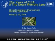 20+ Years of CLIA - Centers for Disease Control and Prevention
