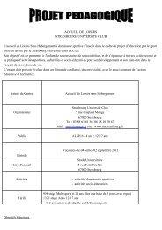 Projets pédagogiques - Strasbourg Université Club