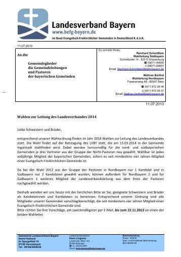 2013-07-05 Anschreiben Wahl-2014 - Baptisten Bayern