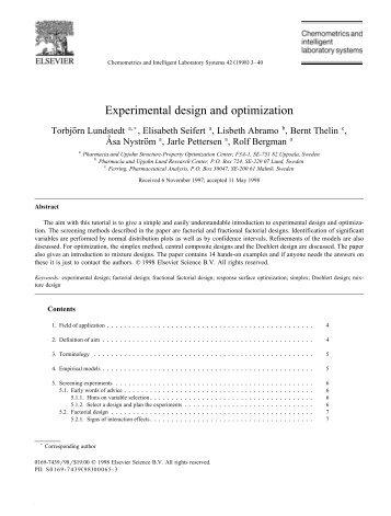 Experimental design and optimization
