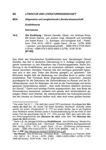 BD LITERATUR UND LITERATURWISSENSCHAFT BDA ...