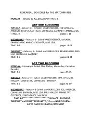 REHEARSAL SCHEDULE for THE MATCHMAKER - Bishop O ...
