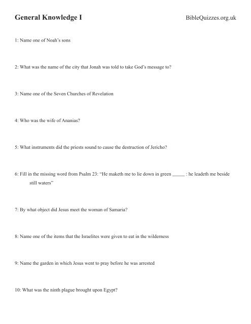 General Knowledge I BibleQuizzes org - Bible Quizzes and Puzzles