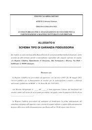 Schema garanzia fidejussoria Master - Regione Calabria