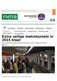 Extra veilige metrotunnels in 2015 klaar – Metro