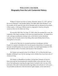 WILLIAM E. RACKER. Biography from the Lehi ... - Lehi City