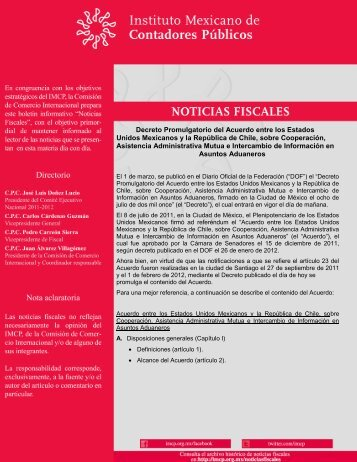 Decreto Promulgatorio del Acuerdo entre los Estados Unidos ...