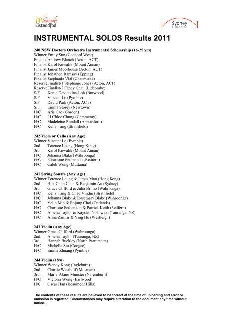 2011 Instrumental solos - Sydney Eisteddfod