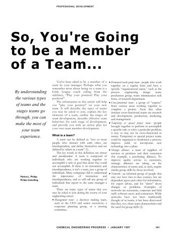 So, You're Going to be a Member of a Team... By understanding the ...