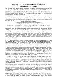Declaração da Assembléia dos Movimentos Sociais Porto Alegre (RS)