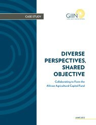 diverse perspectives, shared objective - Global Impact Investing ...