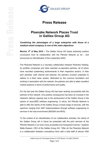 Press Release Ploenzke Network Places Trust in Galileo Group AG