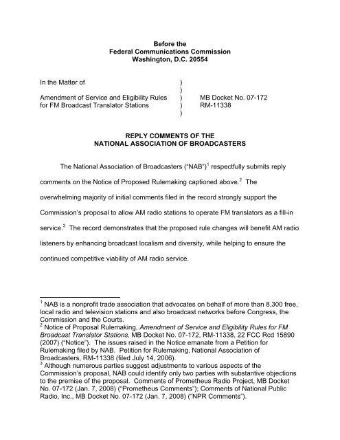 NAB Reply Comments re: AM Station use of FM Translators