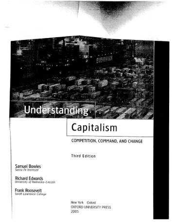 Bowles and Edwards, Capitalism as an Economic System - Widener ...