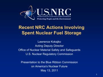 Recent NRC Actions Involving Spent Nuclear Fuel Storage