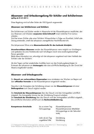 Absenzen- und Urlaubsregelung für Schüler und Schülerinnen