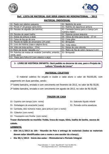 Ref: LISTA DE MATERIAL QUE SERÁ USADO NO MINIMATERNAL ...