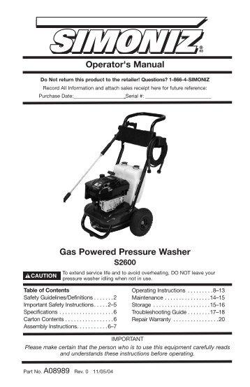 operator s manual gas powered pressure washer allparts rh yumpu com Spartan Pressure Washer Service Manual Honda Pressure Washer Service Manual