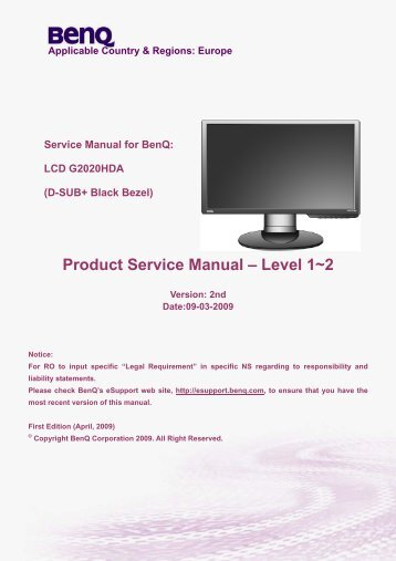 (D-SUB+ Black Bezel) Product Service Manual – Level 1~2