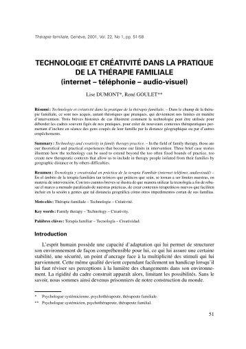TECHNOLOGIE ET CRÉATIVITÉ DANS LA PRATIQUE DE LA ...