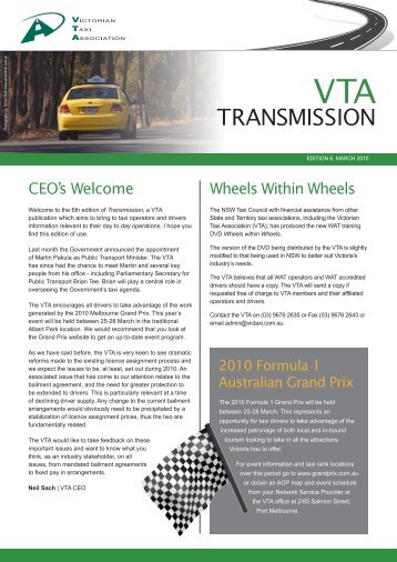March 2010 - The Victorian Taxi Association