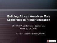 Building African American Male Leadership in Higher Education