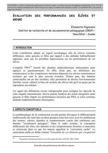 évaluation des performances des élèves et genre - Publications