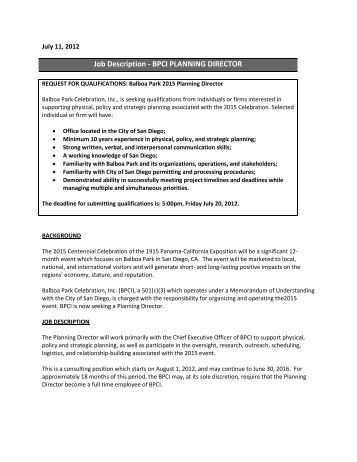 director national accounts job description   the sales    job description   bpci planning director   balboa park