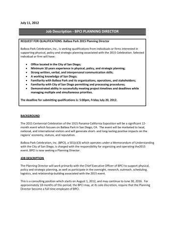 Job Description   BPCI PLANNING DIRECTOR   Balboa Park