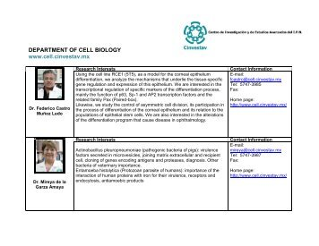 DEPARTMENT OF CELL BIOLOGY www.cell.cinvestav.mx