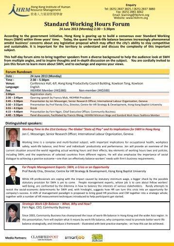 Standard Working Hours Forum - Hong Kong Institute of Human ...