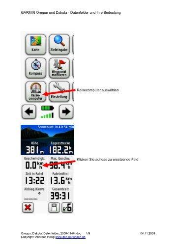 GARMIN Oregon und Dakota - Datenfelder und ... - GPS-Reutlingen