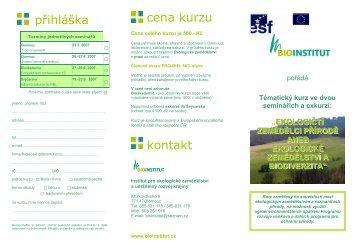 přihláška cena kurzu kontakt - Bioinstitut, o.p.s.