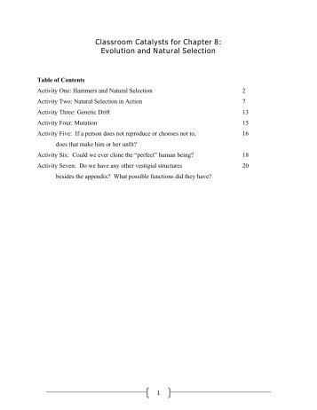 Teaching Activities for Chapter 8: Evolution and ... - W.H. Freeman