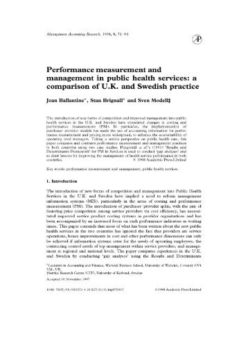 Performance measurement and management in public ... - ppmrn