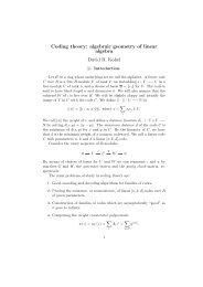 Coding theory: algebraic geometry of linear algebra David R. Kohel