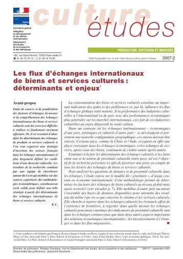 Les flux d'échanges internationaux de biens et services culturels ...