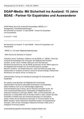 DGAP-Media: Mit Sicherheit ins Ausland: 15 Jahre BDAE - Partner ...