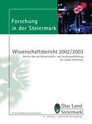 Wissenschaftsbericht 2002/2003 - Land Steiermark