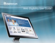 Web Eligibility User Guide - ClaimSecure