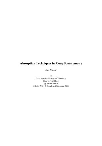 Absorption Techniques in X-ray Spectrometry