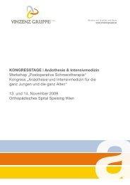 Kongressheft Anästhesie & Intensivmedizin 2009 ... - Vinzenz Gruppe