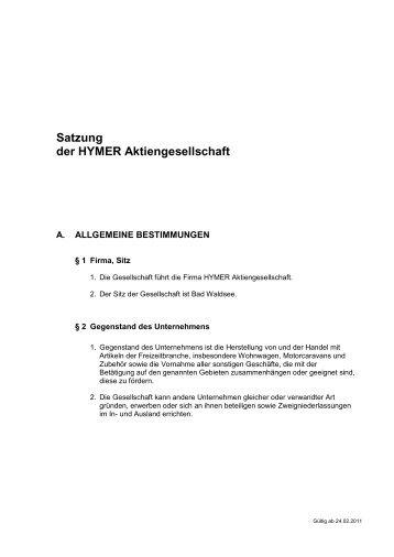 Satzung HYMER AG 2011 gültig ab 23.02.2011