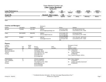 Team Medical Contact List Little League Baseball - PVAquatic
