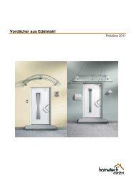 Preisliste Vordächer Edelstahl - von Hometech Comfort