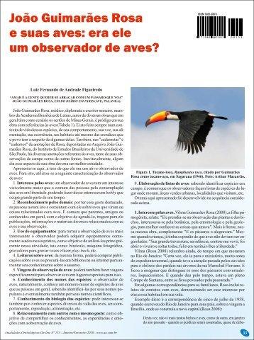 João Guimarães Rosa e suas aves - Atualidades Ornitológicas