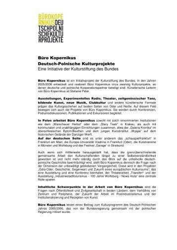 Büro Kopernikus Deutsch-Polnische Kulturprojekte Eine Initiative ...